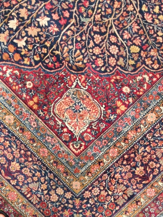 "Antique Indo-Persian Kerman rug. Size 10'6"" x 14'6"". Exceptional design and beautiful colors. Ready to use condition with nice soft pile over the whole rug with two small areas of very low  ..."