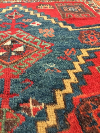Antique east Anatolian Yörük rug circa 3rd quarter of 19th century. Old and beautiful with a lively composition and exceptional dyes. Size is 3'2 x 6'4 (96 x 193cm). Medium height fleecy  ...