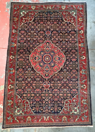 "Fine antique Bidjar. Size:4'6"" x 7'0"". Superb dyes, fine glossy wool, excellent full pile condition with one small area slightly low. Please contact me for more information and photos."