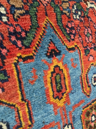 "Antique Persian Bidjar rug. Wool foundation with soft glossy Kurdish wool pile. All the colors are from natural dyes and the yellow, sky blue, and green are particularly attractive. Size is 4'11""  ..."