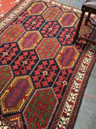 "Antique Bakhtiari rug with exceptional colors. Size: 4'5"" x 6'0"". Excellent condition with medium to low fleecy pile. Clean and ready to enjoy. More information and photos on asking."