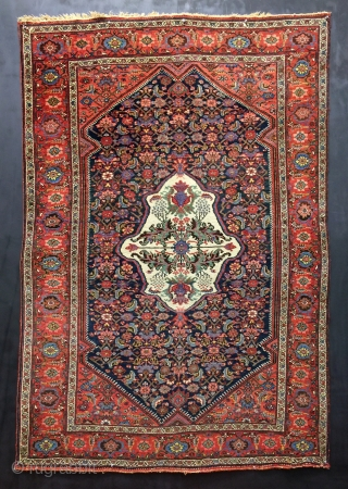 "Antique Persian Bidjar Halwai quality with a unique design, top dyes and wool, and excellent condition. Size: 4'8"" x 6'10"". Age: 1900-1910. Please contact me for more photos and information."