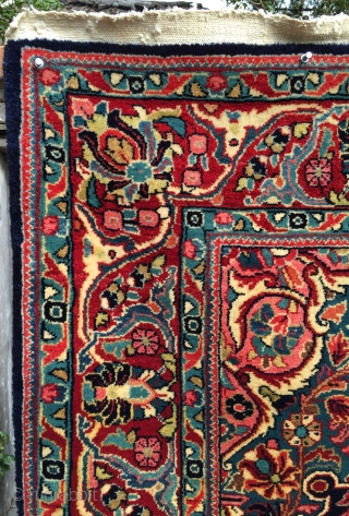 "Superb 1930s Jozan Sarouk in lush full pile. Sublime colors throughout. Size is 4'5"" x 6'10"". Soft, dense wool pile with original sides and ends. Some small damages/repairs to the back, but  ..."