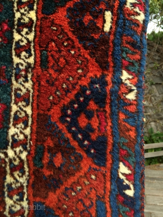 """Wild and woolly south east Anatolian Kurdish rug from around 1890. Gaziantep or Malatya origin. Bright all natural dyes. Long (1.5cm+) ultra soft wool pile. Finely knotted. Large size: 4'10"""" x 7'3"""".  ..."""