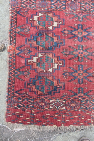 Antique Ersari Chuval Bag Face. The Chuval is attractive albeit worn. The photos show the condition well -- a little frayed around the edges, low pile, worn to the foundation in a  ...