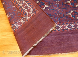 Antique Yomut chuval. 50 x 31 inches. Excellent condition. Full pile. A little loss at the bottom edge.