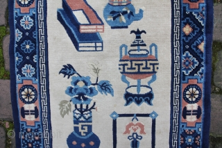 China carpet about 1920, wool on cotton, beautiful colours, condition excellent, size: 1,38 x 0,70 m
