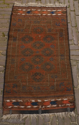 Rare small Baluch double niche rug in excellent condition, complete with kilim ends. is has a silky glow.  These rugs are often described as funeral rugs. This is an exceptional small one,  ...