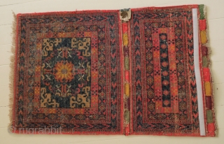 Khotan bag face, East Turkestan , so called corn bag with a chinese inspired pattern,  from a German collection, 1870 - 1900, with certificate (by Werner Bäumer) 84 x 52 cm.