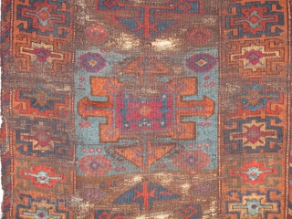 East Anatolian Kurdish Rug with a Holbein derived design. All natural colors with both insect and madder reds. A pleasing palette. Brown wefted. worn.