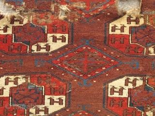 Yomud Tauk Nuska Main Carpet, saturated color, good spacing, super diamond minors with pearl ornament, salt and pepper back, cut and shut.