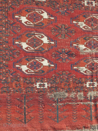 large Kizyl Ayak Turkmen chuval, very old and much larger than most with a great weave, floppy handle, great spacing, and rich saturated colors. a portion of the grey flatwoven back is  ...