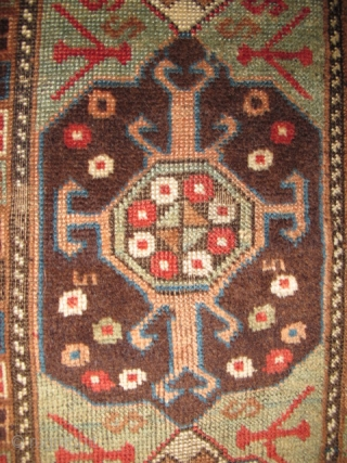 "East Anatolian Rug with Transylvanian Border. Great graphics, 3 medallions nicely drawn with an assortment of scorpions. Good colors with an unusual subdued palette. Condition is fair with scattered old ""repair"" and  ..."