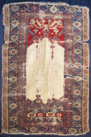 "Ladik Prayer Rug with Double-Columns as well as Double Spandrels. Rare and beautiful white ground and exceptional aubergine and red spandrels. circa 1770, mounted and conserved. a fantastic example. size= 3'7""x 5'7"""