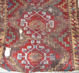 East Anatolian Kurdish Rug, fluffy pile, big knots, vibrant madder red, non-sulphonic natural green and blue. Nice variation on the Memling gul theme. There is a smart playfulness shown with the alternation  ...