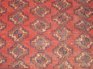 "Turkmen Chuval. Perhaps Ersari, but open left. White warps, Soft floppy handle, good color, nice negative space between the guls. Some split guls. Woven upside-down. 4'6"" x 3'1"" (137x94cm)"