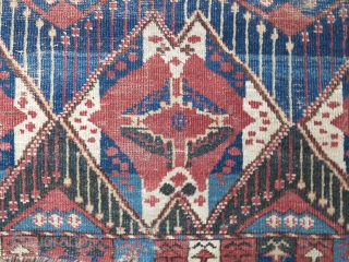 Central Asian Middle Amu Darya Area or Ersari Chuval with an ikat pattern. Crazy drawing with a lot of asymmetry, good color with a peculiar blue/black/green color. Some flat-stitch repair in the  ...