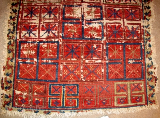 Shahsavan Interpretation of the Pazaryk Carpet? Wool pile on a mostly cotton (hand-spun) foundation. All natural colors. Bold.  Fascinating.