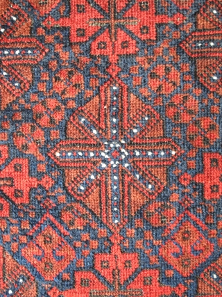 Luscious Arab Baluch Rug with Floating Chemches. Saturated soft wool with all natural colors. Good color shift from vibrant madder red to rust-orange at the top third. Slightly sculptural affect. Asymmetrically knotted  ...