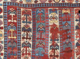 Blitzed but very Beautiful and unusual old South Persian tribal rug. Great colors, graphics and soft lustrous wool. Condition is... ummm... un-restored. (2.12 x 1.79 meters) (This enigmatic piece was published in  ...