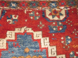 """Yastik-shaped East Anatolian pastiche nicely assembled from what must have been a great East Anatolian Sivas? rug. Thick pile, good colors, could use a wash. 33""""x22"""""""