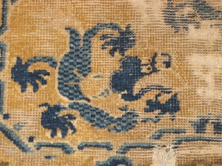 """Chinese Ningxia Dragon Seating Square, probably 18th cen. Qianlong period. rough condition and could use a wash but very compelling drawing. (size = 25""""x26"""" / 64x68cm)"""