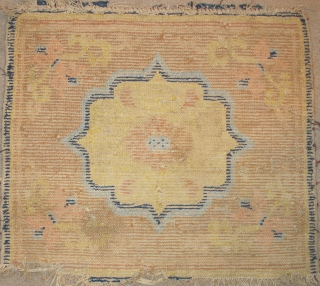 """18th century Chinese Seating Square with Mirror-Back Shaped Medallion Lotus Center. Dorje and Arabesque Corners. Color is very good with salmon-pink and light blue. condition is as it is. (size = 23""""x26""""  ..."""