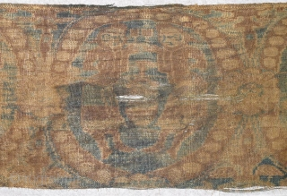 6th century Chinese warp-faced silk textile with roundels featuring wine and Central Asians
