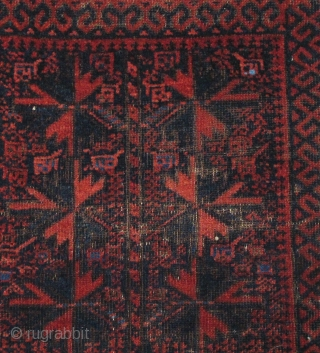 Very soft Baluch large balisht (poshti) from Khorossan, has a few knots of blue cotton, all good colors with polychromatic blue and soft plush wool. Quite attractive.