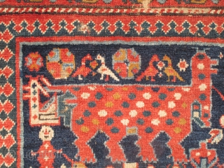 Northwest Persian Shahsevan pile fragment with a large polka-dotted quadrupedal animal, birds, trees, and a somewhat anatomically correct human male figure. Excellent wool and weave. Great color, which is not fully conveyed  ...