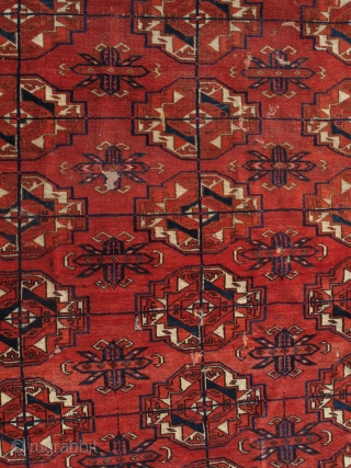 Tekke Turkmen Small Main Carpet or Large Mat with Torba-Guls. Exceptional velvet-like wool, large well-drawn guls, great handle. There is an abrash to the natural browns, lighter toward the center and darker  ...