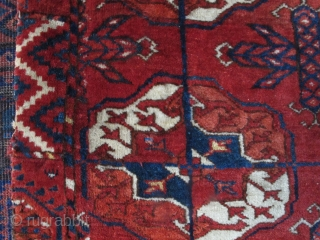 Old Tekke Main Carpet fragment. Old, lush and supple with a velvety buttery feel. Fantastic drape and saturated color.