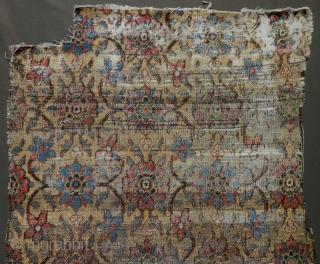 Minakhani fragment, late 18th century / circa 1800. Khorasan jufti knotted type a rare yellow ground. Worn but majestic. Size is 33'x75'