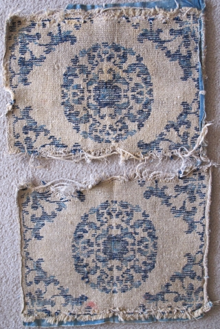 Pair of Small Chinese Ningxia Squares with Roundels. Almost dainty, nicely drawn with two blues. Warp is hand-spun cotton. Weft is a combination of hand-spun cotton and wool. (Each square measures apx.  ...