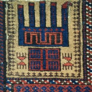 """small camel-ground Baluch prayer rug with nice spacing and great stylized hands. size= 2'8""""x3'8"""""""