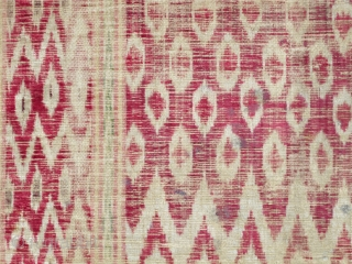 """Persian Silk Velvet Ikat Fragments, very antique with at least four insect reds, green, yellow on a cotton foundation (sizes= 22""""x23"""" and 18""""x23"""" / 56x58cm and 45x58cm)"""