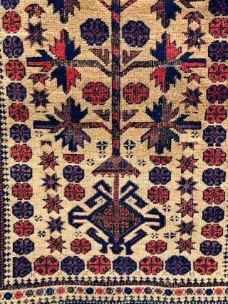 "fine Baluch camel-ground prayer rug, 34"" x 5'5"", asymmetrical, open left 120-130 knots per square inch"