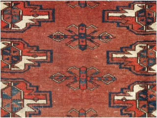"""Yomut Turkmen Torba, well spaced smaller format piece with 3 rows of complementary but diversely drawn guls. Well weighted at the bottom. Symmetrically knotted, natural vegetal colors. 42""""x20"""""""