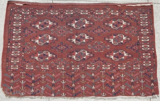 """Yomut Chuval, Former David Reuben piece published in 'Gols and Guls 2' as plate 35 with description reading...  """"Yomut Family Juval 72x125 (2'6""""x4'1"""") early 19th century.  This juval belongs to a small cluster of  ..."""
