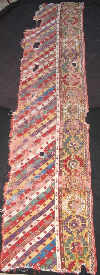 Central Anatolian ( Mucur / Kirshehir ) Striped Rug Fragment with exceptional color. Great purple, greens, light blue, madder red, yellow, etc.