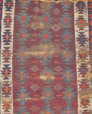 """Super Purple Kilim-Design Anatolian Pile Fragment. Old and wonderful with top color. (size is about 4'0""""x3'4"""".) This piece is mounted and conserved against black fabric. (The photo is a bit washed but  ..."""