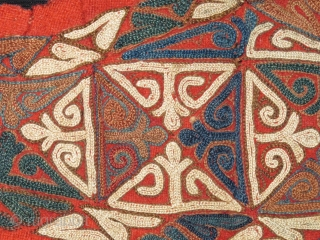 Chodor Turkmen embroidered head ornament. Silk floss on wool.