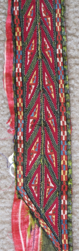 Tekke Turkmen embroidered band. Very fine. Very colorful with several blues, yellow, orange and insect red. Embroidered on a hand-woven green silk. 105x6cm