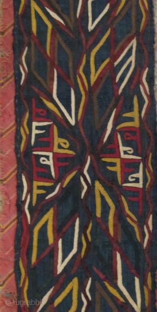 Tekke Turkmen embroidered strip on a deep indigo ground. Bold design accomplished with a very fine technique. 111x10cm