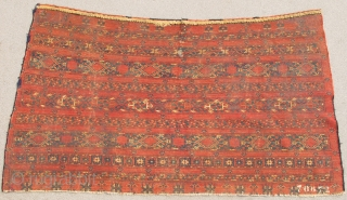 Banded Central Asian Chuval, all cotton whites, slightly different drawing and array of ornament than most others of this type. Saturated madder red ground. Probably Ersari or another eastern Turkmen group from  ...