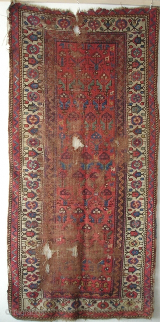 """Cute Northwest Persian Kurdish Shrub Rug with little animals in the field. Clear colors including purple, greens, yellow and blue. 6'10"""" x 3'4"""""""