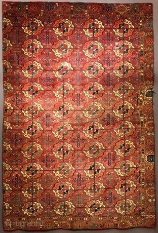 lush velvety Tekke Turkmen main carpet with rounded guls. fragmented at sides, missing a border.