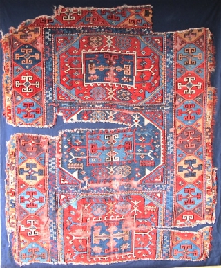 "East Anatolian Fragmented Rug, red weft, fine weave, exceptionally saturated color including aubergine, and a brilliant red. Not your usual ""yoruk""."