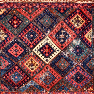 "colorful fluffy Jaf Kurd bagface. borders cut top and bottom. Nice thing. 23""x38"" /"