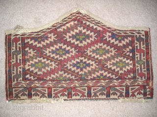 """Small Yomut 7-sided Asmalyk. Good condition, All natural colors but with a faded yellow that seems stronger on the back. (25"""" x16"""")"""